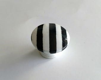 Sale - Black and White Stripe Hand Painted Drawer Knob, Ready to Ship, Stripes Drawer Pull