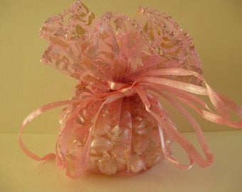 Round organza bags.  Pale pink with gold roses organza,  gift, jewellery, wedding bags. Pouches.  24cm  Set of 10