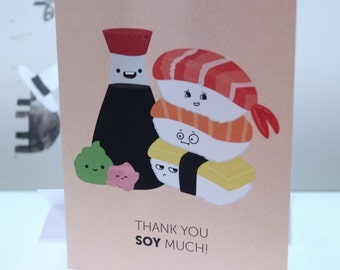 Thank You Soy Much (Sushi) Greeting Card