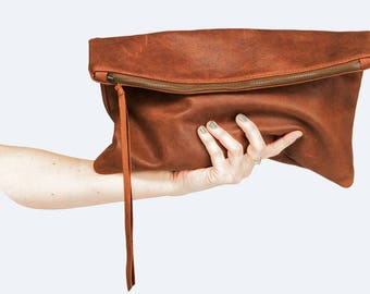 Brown Leather Folded Clutch Handbag