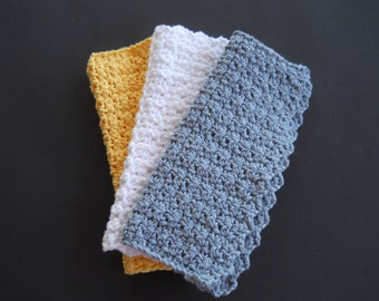 Cotton Dish Cloths ~ Cotton Wash Cloths ~ Crocheted Dishcloths ~ Crocheted Washcloths ~ Shower Gift ~ Kitchen Decor ~ Housewarming Gift