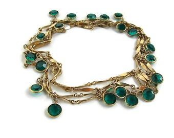 Extra long necklace. Wrap long necklace. Wrap necklace. Green long necklace Green boho necklace. Green gold necklace. Green crystal necklace