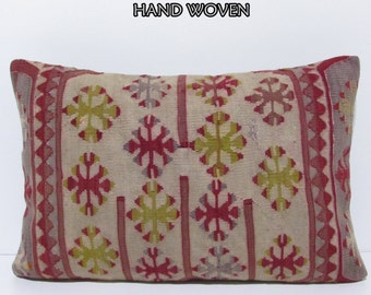 red sofa pillow 16X24 sofa throw pillow red seat cushion vintage fabric decorative throw pillow bedroom pillow cover kilim pillow sham E499