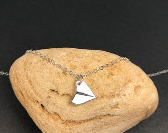 Sterling Silver Paper Airplane Necklace / Origami / Simple Plane Charm / Solid Sterling Silver