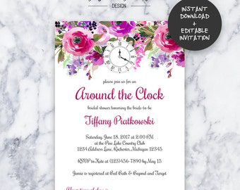 Pink Around the Clock Bridal Shower Invitation | INSTANT DOWNLOAD | Editable PDF| Do It Yourself | Printable