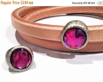 Licorice leather slider, PInk Paua Shell and Antique Silver plated zamak, licorice finding, jewelry supplies
