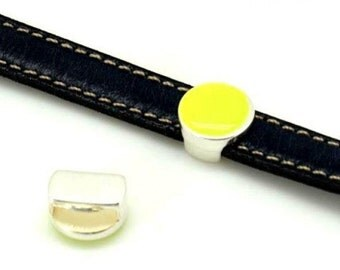 10mm Flat Leather Slider, Coin Slider, Silver zamak, fluorescent yellow
