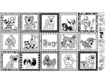 Happy Dogs Cotton Fabric Panel 692-101 by Loralie! [Choose Your Cut Size]