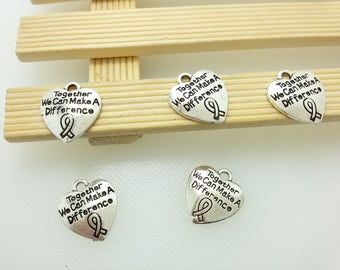 25 pcs  Antique Silver Ribbon Breast  Cancer  Awareness Charms, Heart Charms ,cancel heart Charms