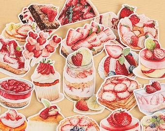 20piece Strawberry Cake Snack Dessert sticker lot Pack