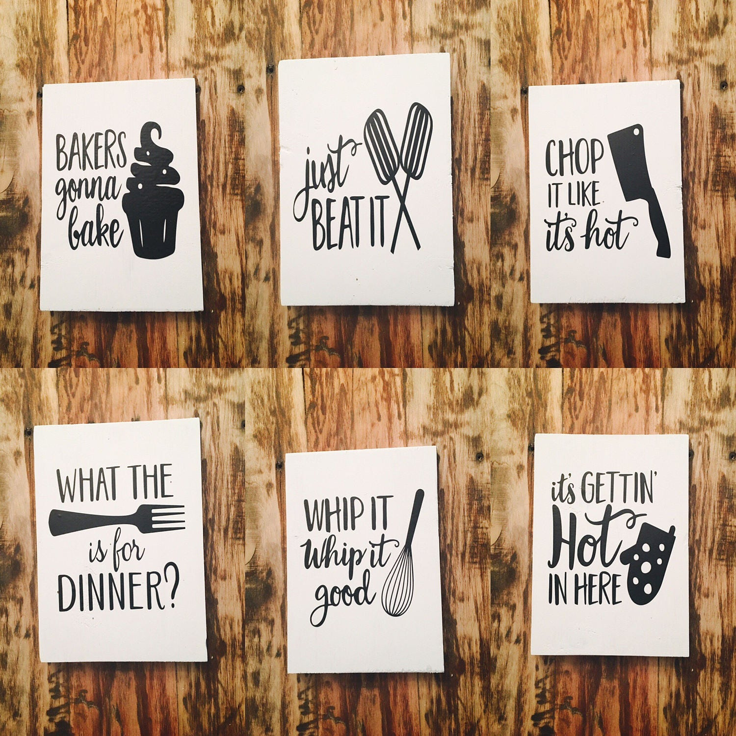 set of 6 funny kitchen signs kitchen signs kitchen decor wooden kitchen signs - Funny Kitchen Signs