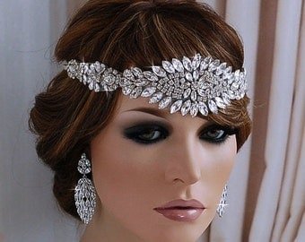 Great Gatsby Headpiece Flapper Bridal Woman Head Band 1920s Headband Hairband Bride Hair Accessory Wedding Vintage Jewelry Weddings