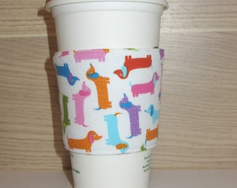 Colourful Dachshunds Fabric Coffee Cozy