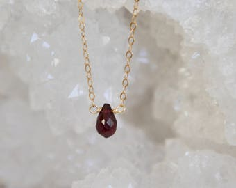 January Red Garnet Necklace - Birthstone Necklace