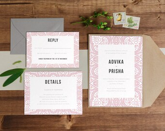 DIY Printable Wedding Invitation | Indian / Moroccan Theme | Save the Date | RSVP  | Details | Calligraphy | Pink | Rustic Zen