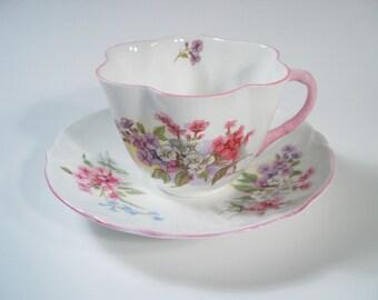 "SHELLEY "" Stocks "" Tea Cup And Saucer, Shelley Wild Flowers teacup set, Dainty shape cup."