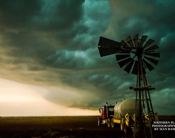 Windmill Photography, Windmill Print, Country Artwork, Picture of Windmills, Windmill Storm, Prints of Oklahoma, Rustic Decor, Oklahoma