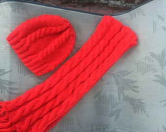 Valentine red knit scarf hat fingerless, Christmas gift