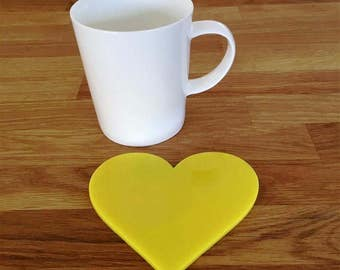 Heart Shaped Yellow Gloss Finish Acrylic Coasters