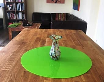 Round Worktop Saver in Lime Green Gloss Finish Acrylic - 3 Sizes Available