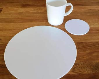 Round Placemats or Placemats & Coasters - in White Gloss Finish Acrylic 3mm
