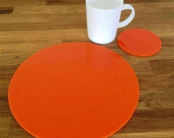 Round Placemats or Placemats & Coasters - in Orange Gloss Finish Acrylic 3mm