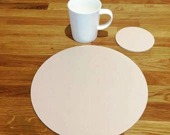 Round Placemats or Placemats & Coasters - in Latte Beige Matt Finish Acrylic 3mm