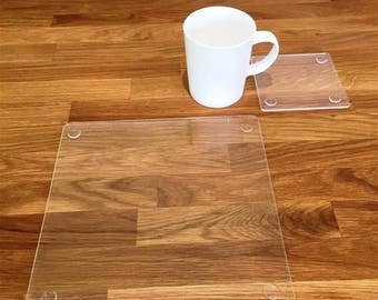 Square Placemats or Placemats & Coasters - in Clear Gloss Finish Acrylic 3mm