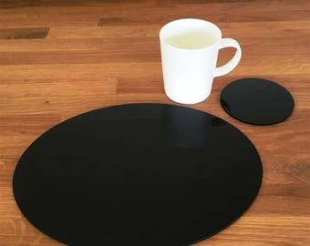 Oval Placemats or Placemats & Coasters - in Black Gloss Finish Acrylic 3mm