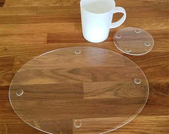 Oval Placemats or Placemats & Coasters - in Clear Gloss Finish Acrylic 3mm