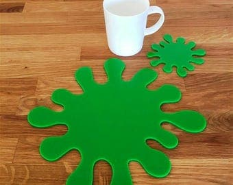 Splash Shaped Placemats or Placemats & Coasters - in Bright Green Gloss Finish Acrylic 3mm