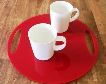 "Round Flat Serving Tray - Red Gloss Finish Acrylic, 3mm Thick 32cm, 12.5"" Diameter"