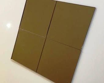 """Bronze Mirrored Acrylic Square Crafting Mosaic & Wall Tiles, Sizes: 1cm to 20cm - 1"""" to 7.9"""""""