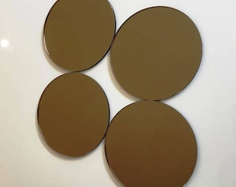 """Bronze Mirrored Acrylic Circles Crafting Mosaic & Wall Tiles, Sizes: 1cm to 20cm - 1"""" to 7.9"""""""