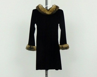 Vintage 90s Girls Velvet Dress, Little Girls Dress, Faux Fur Dress, Black Dress, A Line Dress, Kids Dress, Formal Dress, Special Occasion