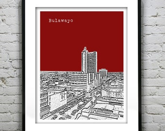 Bulawayo Zimbabwe  Skyline Art Print Poster Version 1