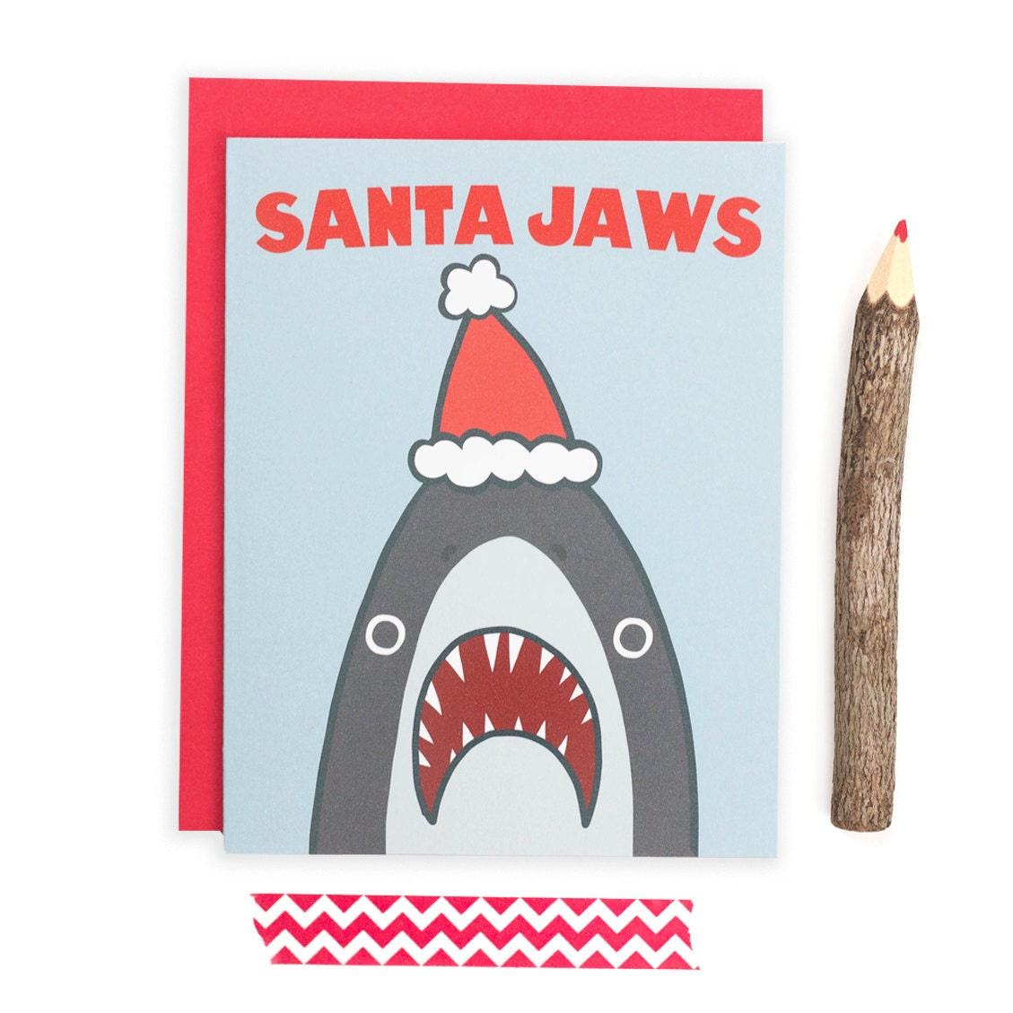 Funny Christmas Card Santa Shark Funny Holiday Card Shark