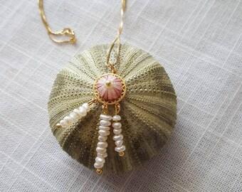 PENDANT with mini sea urchin - Dreamcatcher -Mandala -Pearls