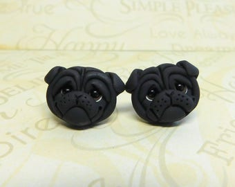 Black Pug POST dog Earrings  by Raquel at the WRC hand sculpted polymer clay
