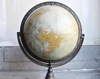 Beautiful Rand McNally Art Nouveau 12 Inch Terrestrial Globe - Rand McNally Cast Iron Claw Foot Globe - World Globe - Desk Globe