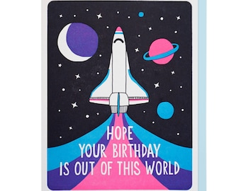 Out of this World Birthday Letterpress Card