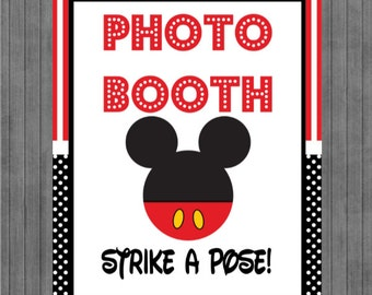 ON SALE!!  Mouse Birthday Sign, Photo Booth, Red, Black