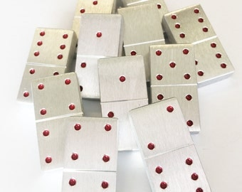 Aluminum Dominoes with Red Pips // Professional size