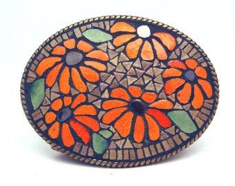 Mosaic belt buckle -- Orange Flowers