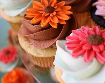 Fondant Edible Cupcake Topper Flower Gerbera Daisies Choose Your Color
