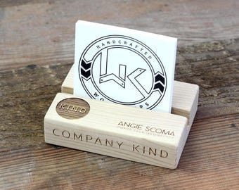 Reclaimed Wood Customizeable Business Card Holder made of recycled hardwood engraved with your logo
