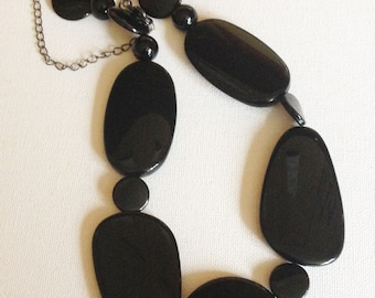 Necklace - funky large black flatish plastic beads necklace great chunky costume jewellery