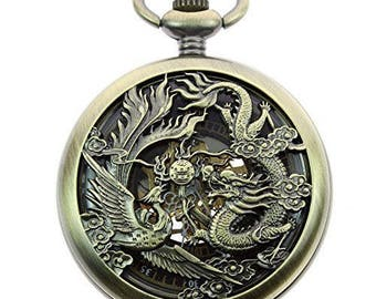 Phoenix and Dragon Roman Number Dial  Mechanical Pocket Watch