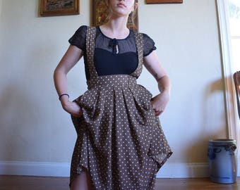 Brown Chiffon Polka Dotted Suspender Skirt