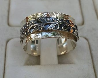 Silver Spinner Ring ,Leaves Silver Ring ,Sterling Silver 925 Ring ,Unisex Spinner Ring ,Wedding Spinner Ring ,Bride And Groom Wedding Band